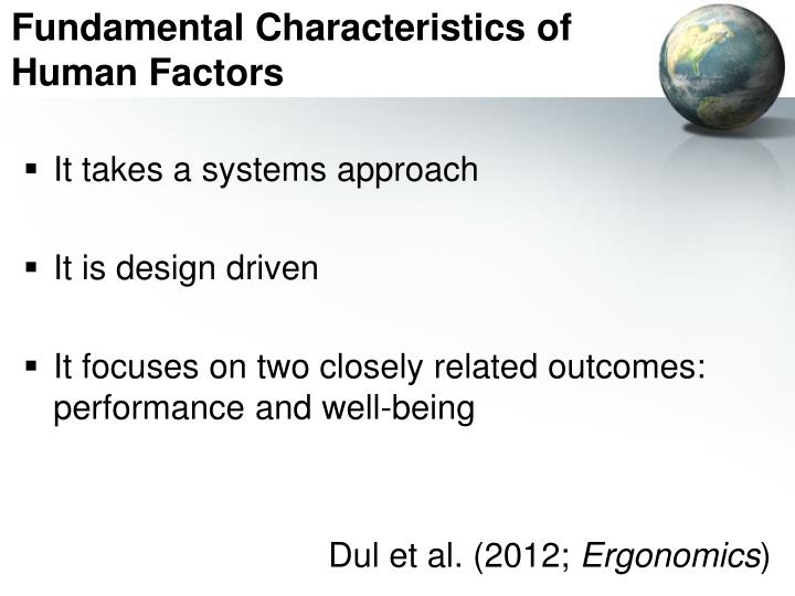Fundamental Characteristics of Human Factors