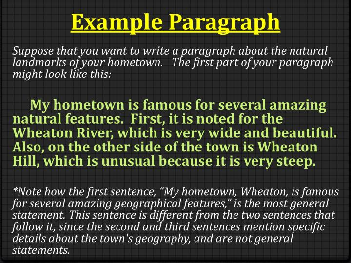 my home town paragraph