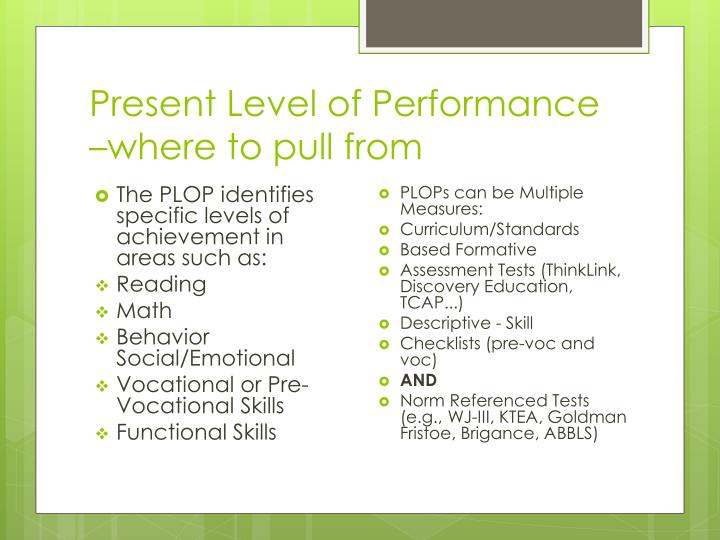 Present Level of Performance –where to pull from