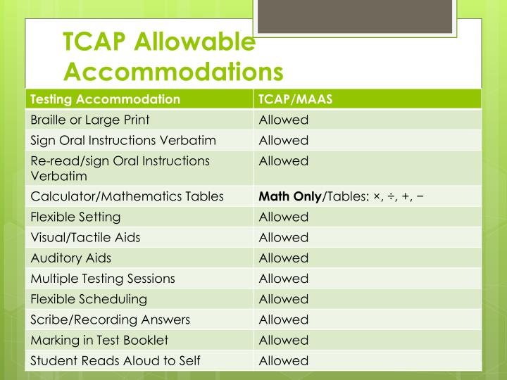 TCAP Allowable Accommodations