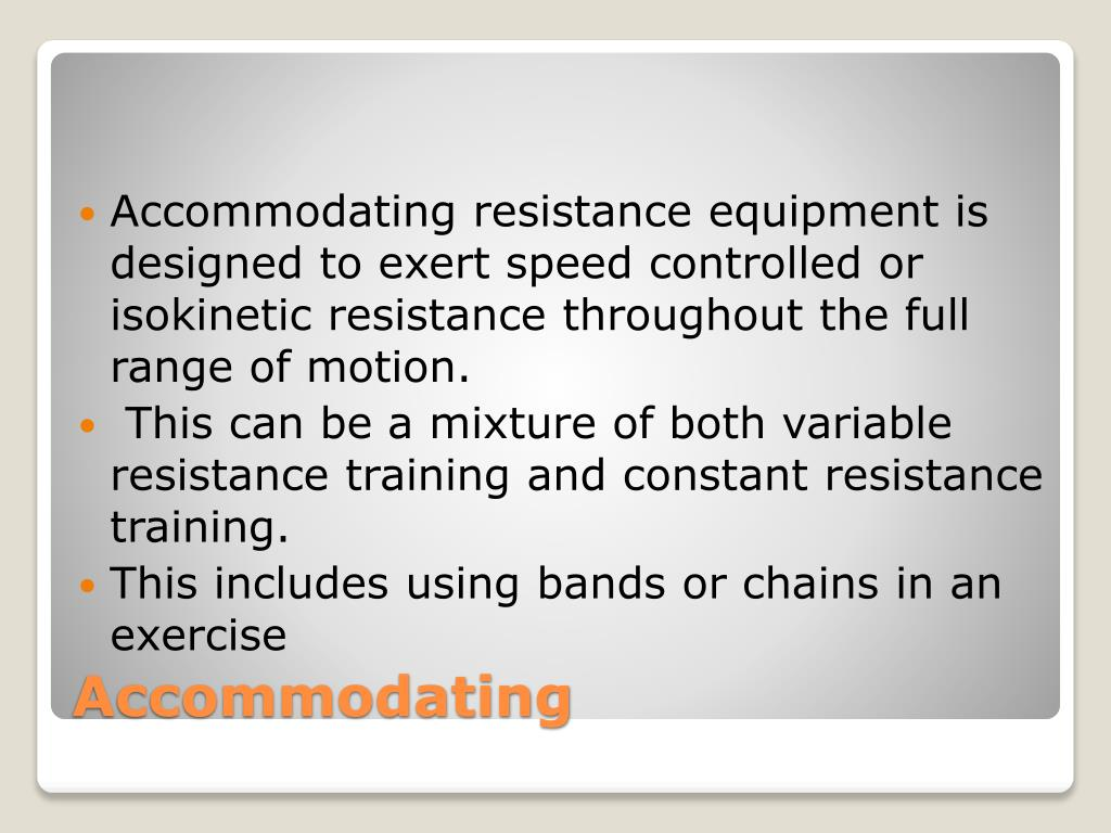 Accommodating resistance vs variable resistance machines