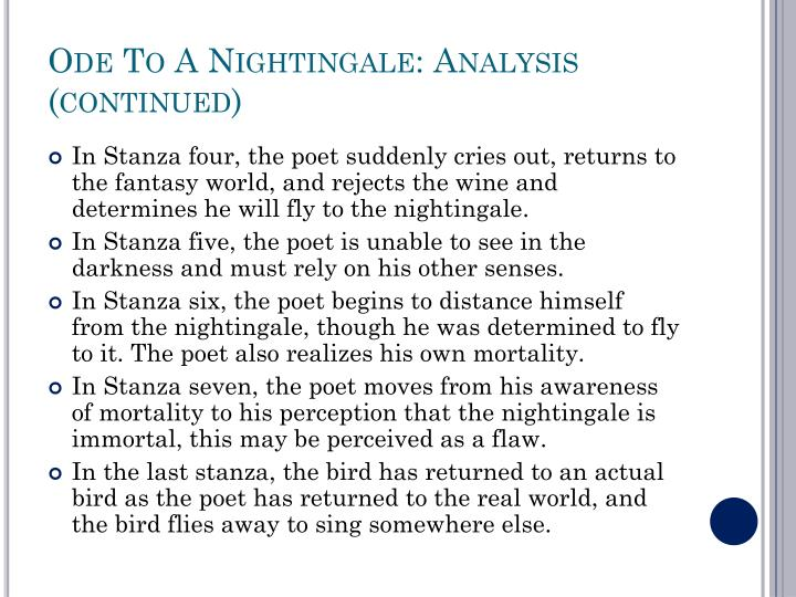 essay on john keats poem ode to a nightingale Read this poet's poems english romantic poet john keats was born on october 31, 1795, in london the oldest of four children, he lost both his parents at a young age.