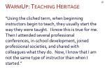 warmup teaching heritage2