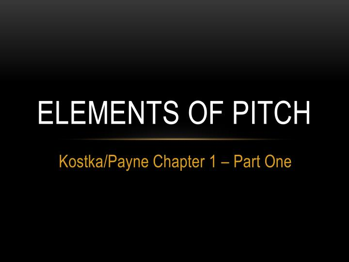 elements of pitch n.
