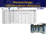 nominal design definition phase 18 03 20111