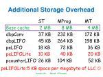 additional storage overhead