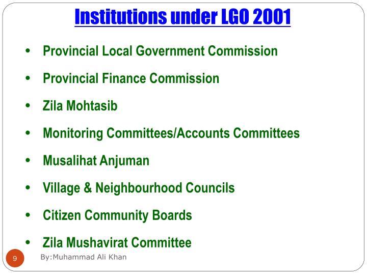 Institutions under LGO 2001