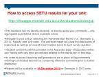 how to access setu results for your unit