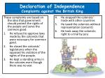 declaration of independence complaints against the british king