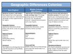 geographic differences colonies