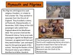 plymouth and pilgrims