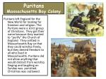 puritans massachusetts bay colony