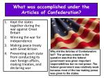 what was accomplished under the articles of confederation