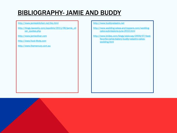 Bibliography- Jamie and Buddy