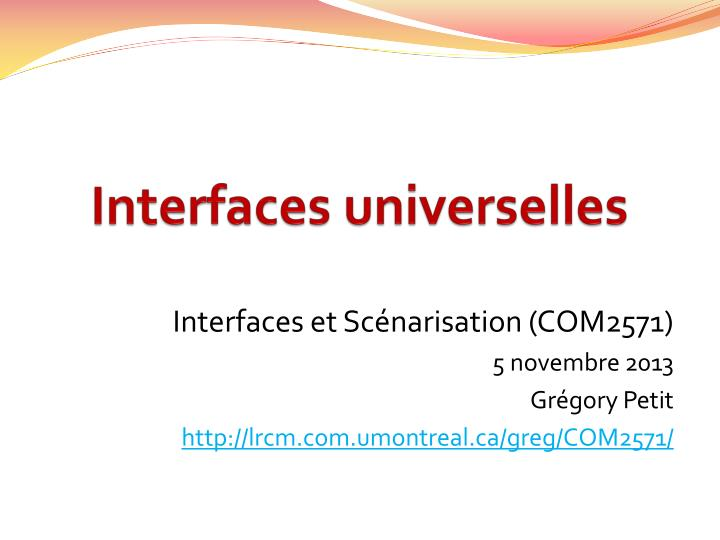 interfaces universelles n.