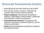 eficacia del financiamiento clim tico