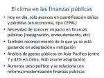el clima en las finanzas p blicas