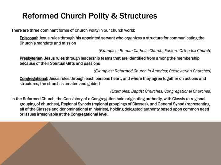 Reformed church polity structures