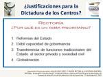 justificaciones para la dictadura de los centros