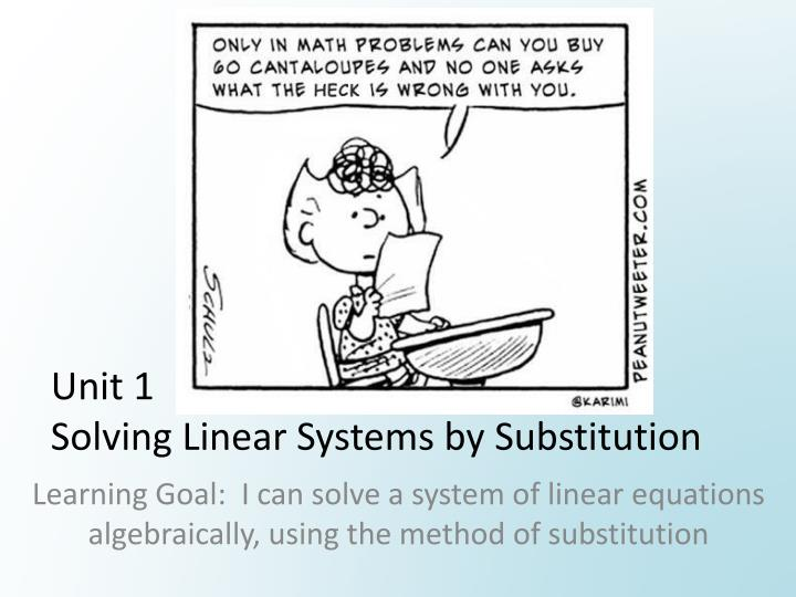 unit 1 solving linear systems by substitution n.