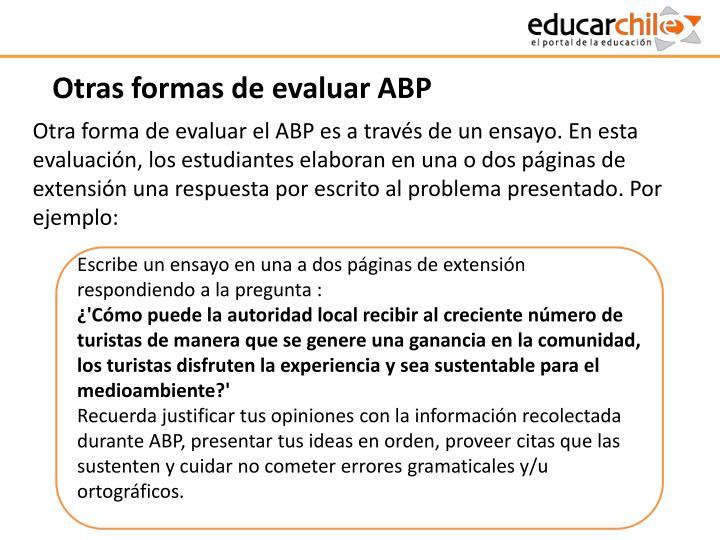 Otras formas de evaluar ABP