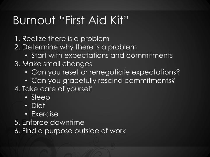 """Burnout """"First Aid Kit"""""""