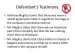 defendant s testimony