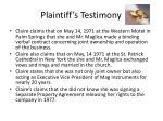 plaintiff s testimony