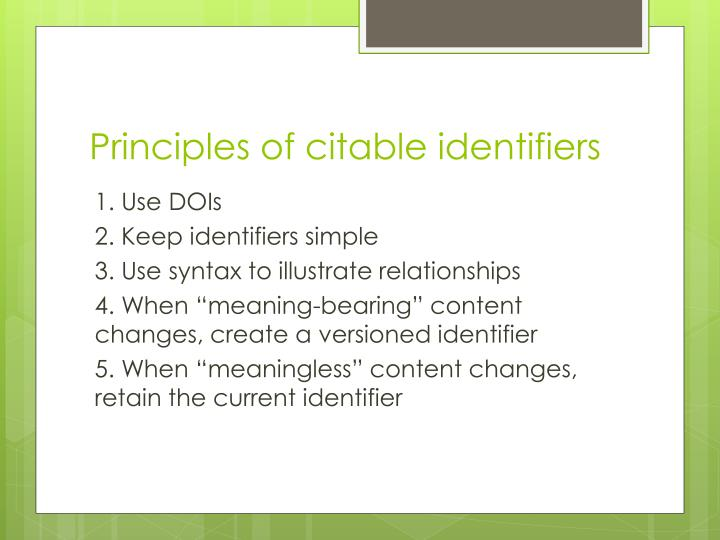 Principles of citable identifiers