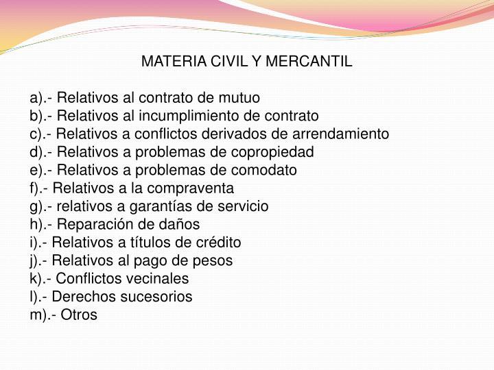 MATERIA CIVIL Y MERCANTIL