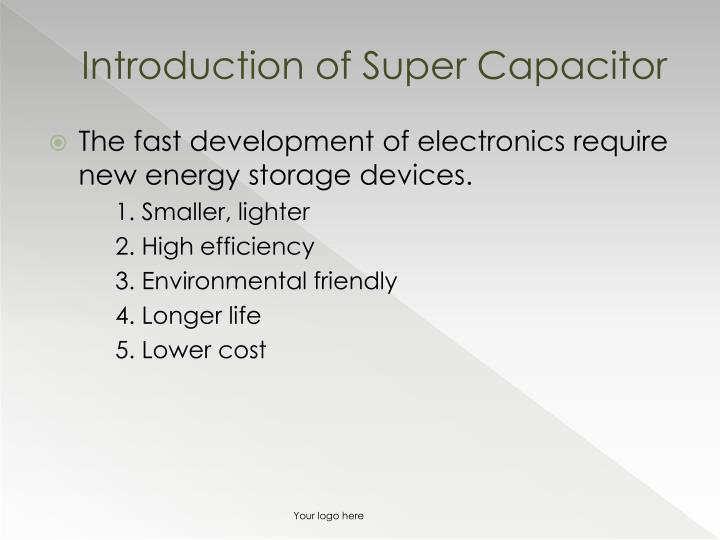 Introduction of super capacitor