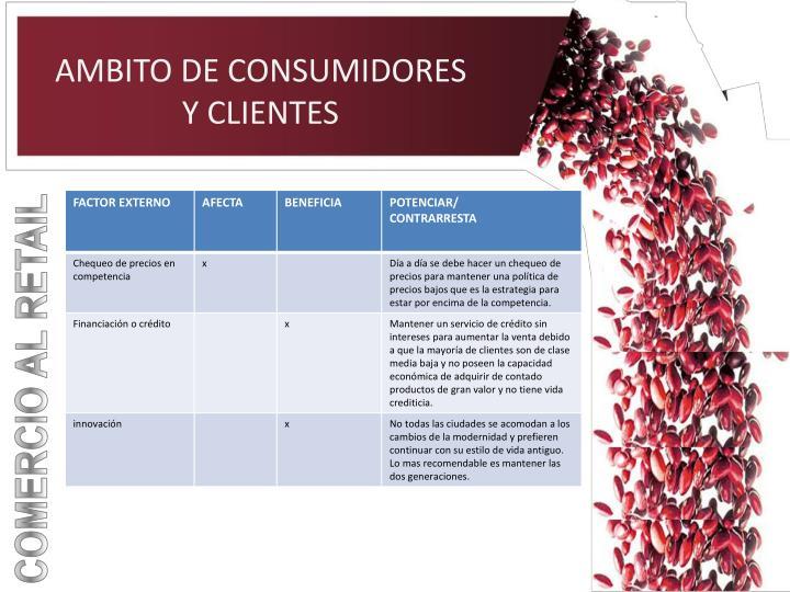 AMBITO DE CONSUMIDORES Y CLIENTES