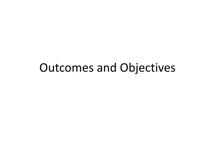 outcomes and objectives n.