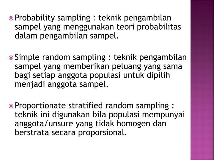 Probability sampling :