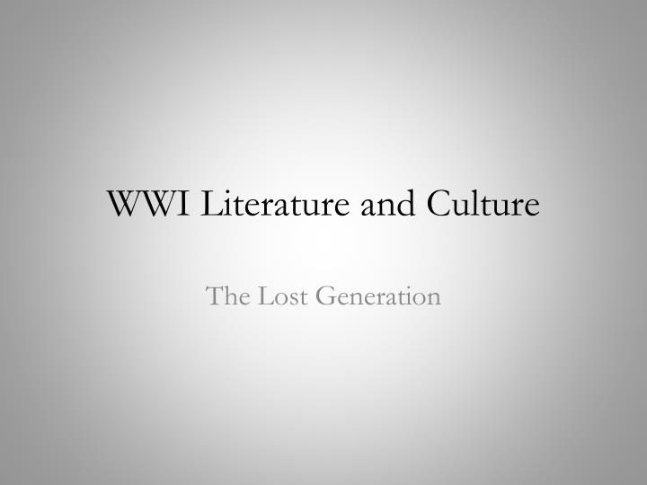 wwi literature and culture n.