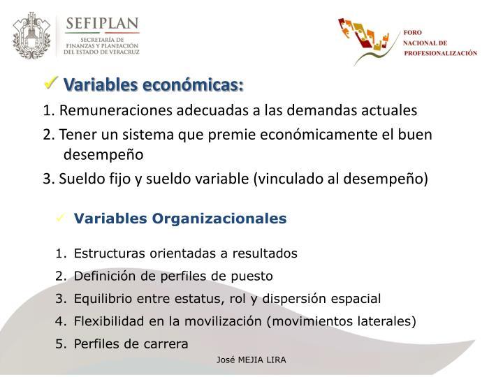 Variables económicas: