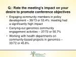 q rate the meeting s impact on your desire to promote conference objectives