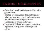 elizabeth i domestic policy