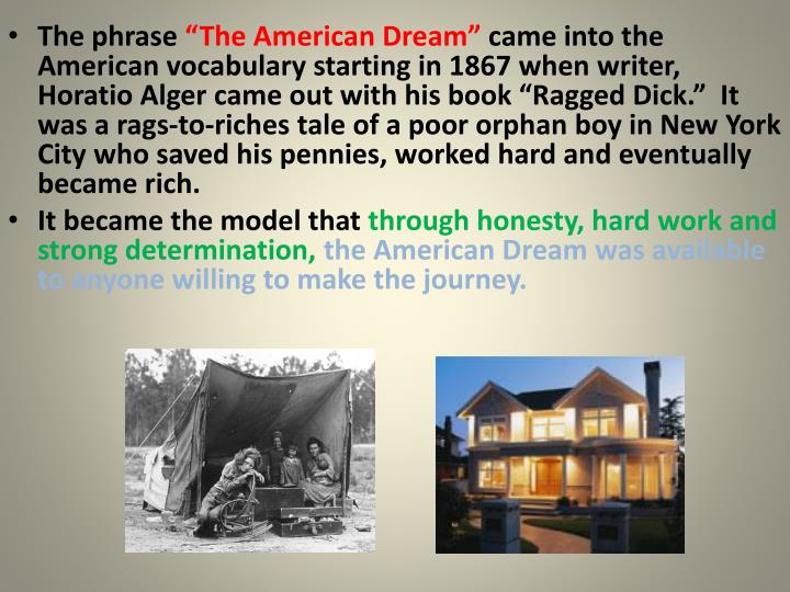 the american dream powerpoint guide A raisin in the sun social background published in 1959 jr civil-rights leader 1929-1968 i have a dream a dream deeply rooted in the american dream.