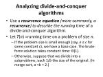 analyzing divide and conquer algorithms