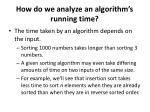 how do we analyze an algorithm s running time