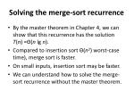solving the merge sort recurrence