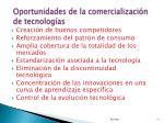 oportunidades de la comercializaci n de tecnolog as