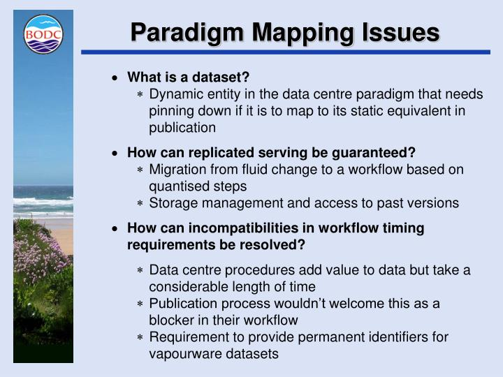 Paradigm Mapping Issues