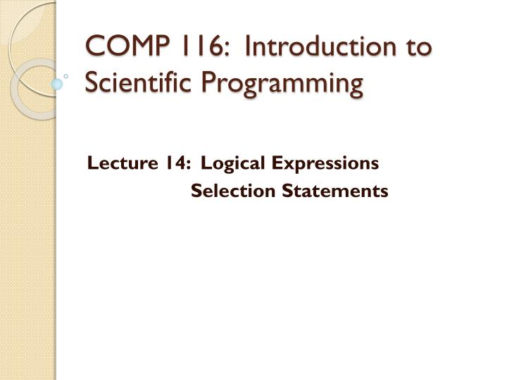 comp 116 introduction to scientific programming n.