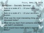 reflection socratic seminar