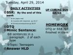tuesday april 29 2014