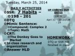 tuesday march 25 2014