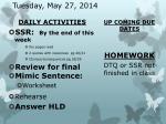 tuesday may 27 2014