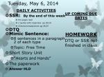 tuesday may 6 2014